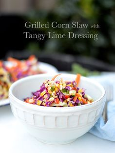 Grilled Corn Cole Slaw with Tangy Lime Dressing by My Invisible Crown