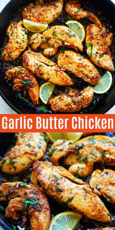 Garlic Butter Chicken Tenders - one of the best chicken tender recipes with garlic, butter and spices on skillet. Crazy delicious, juicy and easy chicken dinner made in 15 mins | rasamalaysia.com