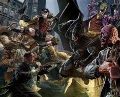 Batman & Robin Vs Gotham Criminals Art By Lee Bermejo Batwoman, Nightwing, Batgirl, Comic Book Artists, Comic Books Art, Comic Art, Dc Comics Art, Batman Comics, Batman Art