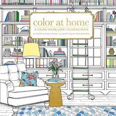 Color At Home: A Young House Love Coloring Book by Sherry and John Petersik with Illustrations by Joan Borawski (fun adult coloring book full of detailed inspiration rooms so you can escape into a land of eye candy or even try out new color schemes for your home).