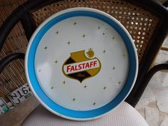 """Falstaff Beer Tray Vintage Serving Retro Style 13"""" Blue gold yellow black & white by MilliesAttique on Etsy"""