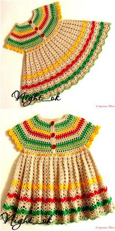 This is another pattern of a very beautiful crochet baby dress that is very colorful and charming in the picture. This is the most attractive and lovely crochet baby dress. Crochet Toddler Dress, Crochet Baby Dress Pattern, Baby Dress Patterns, Crochet Girls, Easy Crochet, Crochet Clothes, Crochet Patterns, Knitting Patterns, Baby Sweaters