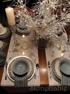 """Table for 4 - like the double runner """"across"""" the table (lots more tablescapes here)"""