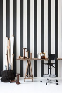 Vertigo wallpaper is a stylish black and white striped wallpaper printed on WallSmart wallpaper (non woven-fleece). It is easier and faster to hang. From the Danish company Ferm Living. Ferm Living Wallpaper, B&w Wallpaper, Modern Wallpaper, Designer Wallpaper, Wallpaper Designs, Perfect Wallpaper, Special Wallpaper, Bedroom Wallpaper, Wallpaper Paste
