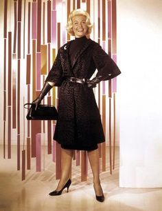 "12/29/13 2:46a Universal-International  Pictures   ""Midnight Lace""   Doris Day   Black Coat Ensemble  Nice  with  Diamond Gondola Brooch     Doris Day Wore this in the Scary/Freaky Elevator/Pub Scene   1960 Imdb.photo.com"