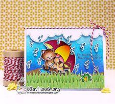 Cat and Umbrella Card by Ellen Haxelmans  Newton's Rainy Day stamp set and die set by Newton's Nook Designs #newtonsnook