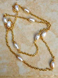 White Freshwater Pearl Necklace by BlueCielJewelry on Etsy, $23.00