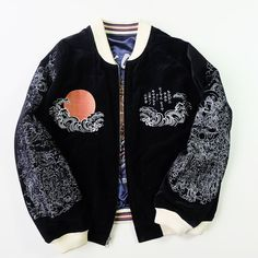 Bakuretsu Ranman SUIKODEN The Rising Sun of Japan Japanese Devil EVIL Ogre Rising SUN Hokusai Wave Souvenir Sukajan Jacket Art - Japan Lover Me Store