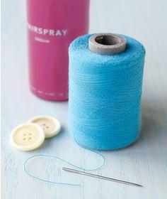 Hairspray as Needle Threader | Fresh new spins on bathroom essentials.