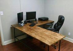 Industrial Desk, butcher block top,Industrial L Shaped Desk, Wood Desk, Pipe Desk, Industrial Desk