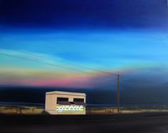 It's Great in Here, Oil on Canvas, painting, landscape, typography, graphic, great, prada, marfa, texas, sunset, road, outsider, other