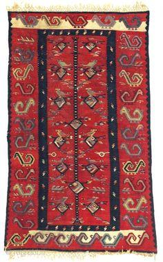 fantastic Sarköy Kilim, with beautiful brilliant colors and great very unusul animal design, 160x93cm