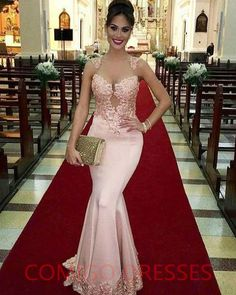 Adorable Pink Lace Appliques Satin Evening Gown Elegant Mermaid Prom Dresses on Storenvy