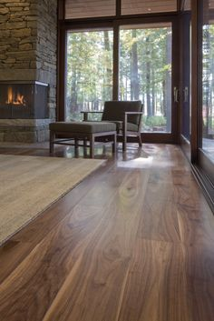You can get a stunning walnut floor this one crafted by Carlisle and designed by Murdough Design