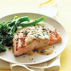 Quick Grilled Salmon with Mustard-Wine Sauce