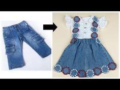 GONANISSIMA: تحويل سريع من جينز قديم الى شيالة طفلة انيق وبكل ب... Girls Dresses Sewing, Sewing Baby Clothes, Frocks For Girls, Little Girl Dresses, Baby Frocks Designs, Kids Frocks Design, Baby Dress Design, Frock Design, Baby Frock Pattern