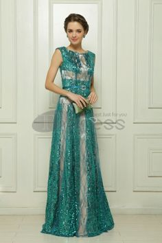 Dresses in Stock-Sequin Embroidery Malay green satin evening dress