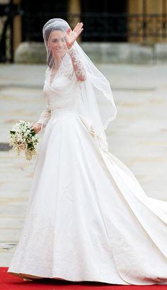 Catherine, Duchess of Cambridge, wearing her wedding dress from Sarah Burton for Alexander McQueen.