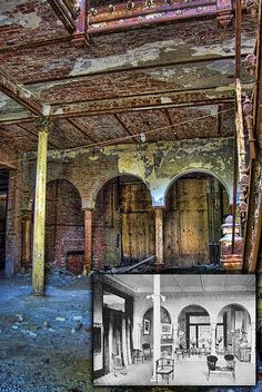 Before/After Interior of the Physical Culture Hotel in Dansville NY. From A.D. Wheeler flickr photostream