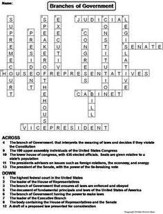 Branches of Government: Crossword Puzzle Worksheet