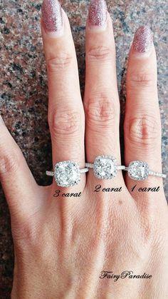 3 Ct Cushion Cut Halo Engagement / Promise Ring by FairyParadise #DazzlingDiamondEngagementRings #haloengagementring