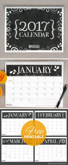 With a sophisticated black and white chalkboard design, this 2017 free…