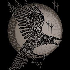 Drawn raven germanic - pin to your gallery. Explore what was found for the drawn raven germanic Art Viking, Rune Viking, Viking Raven, Corvo Tattoo, Rabe Tattoo, Symbole Viking, Arte Tribal, Raven Art, Nordic Tattoo