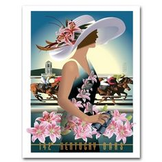 """Official 2016 Kentucky Oaks Poster. Designed by John Mattos, the Oaks poster captures the essence of fashion, hats and Lilies, all the trademarks of this historic racing day for the fillies. Printed in the USA. 18"""" x 24"""""""