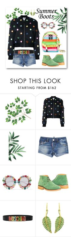 """""""Summer Boots"""" by dogzprinted ❤ liked on Polyvore featuring Moschino, Dsquared2, Dolce&Gabbana, Jennifer Meyer Jewelry, Summer and summerbooties"""