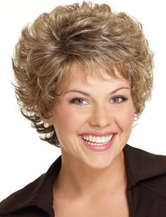 Blonde Mixed Brown Shaggy Curly Capless Stunning Short Inclined Bang Synthetic Wig For Women