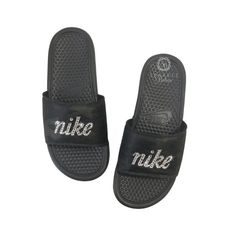 watch 722cf e5366 Army Wife Army Mom - Women s Nike Slides with Swarovski Crystals Bedazzled  Sparkly Nike Sandals by