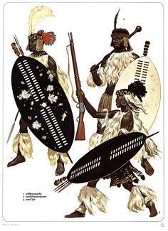 1:uMbonambi.2:umKhulutshane.3:umGijo. African Culture, African History, African Art, Black History Books, Art History, Military Art, Military History, African Warrior Tattoos, Zulu Warrior