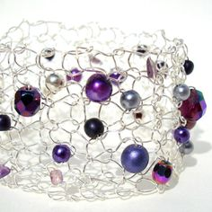 Wide Wire Cuff Bracelet Metal Knit Mesh with by lapisbeach on Etsy