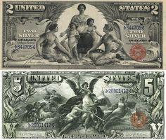 "Old United States money.. $2 dollar and $5 dollar bills backed by ""silver"".                                                                                                                                                      More"