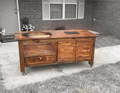 Custom Big Green Egg Table (Free Shipping for Some Areas) by McVeyMadeFurniture on Etsy https://www.etsy.com/listing/259569162/custom-big-green-egg-table-free-shipping