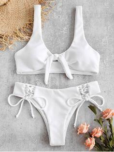 3345549b47caf ZAFUL Ribbed Lace Up Tied Bikini Set - WHITE Lteen fashion,teen fashion for  school