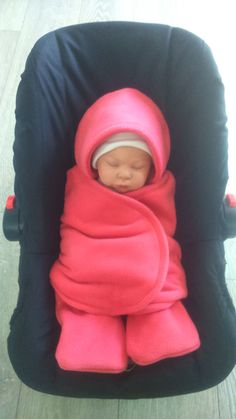 Car Seat Cosy Wrap Swaddle Blanket Coral Pink Take me home outfit* by SiennaChic on Etsy