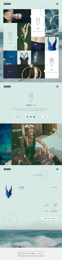 ÉTATS-UNIS - Amy Martino - site web pour la marque Soak (date inconnue) Web Design Mobile, Web Ui Design, Best Web Design, Page Design, Branding Design, Website Design Inspiration, Graphic Design Inspiration, Web Layout, Layout Design