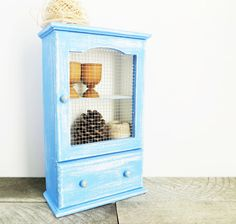 Periwinkle Blue Curio Cabinet  Vintage Upcycled  by GreenFoxStudio