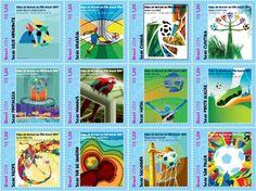 """Los correos de Brasil ha puesto a disposición el 30 de Enero de este año un serie de estampillas especiales de la """"Copa FIFA Brasil 2014"""", la misma engloba a las 12 ciudades sedes del evento retratadas en un sello(Manaos, Natal, Porto Alegre, R"""