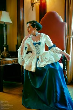 Blue and Almost White Silk Marie Antoinette Victorian inspired rococo costume dress