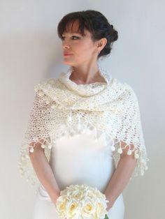 Ivory châle châle de mariage au crochet châle mariée wrap