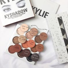 """Comparison of @kyliecosmetics #kyshadow bronze palette vs some similar @colourpopcosmetics pressed…"""