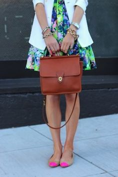 Bold florals, neon-capped flats, and classic bag.