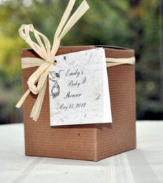 Stork Baby Shower Seed Favors in Gift Boxes- These are adorable, grow memories of your baby .
