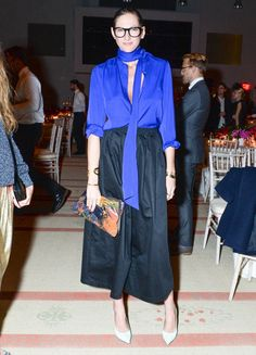 Jenna Lyons wearing a blue button down and mid-length skirt at the CFDA/Vogue Fashion Fund Awards.