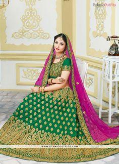 Lively Bhagalpuri Silk Green Lehenga Choli