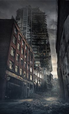 How the apocalypse would look in Manche ster & London Post Apocalypse, Apocalypse Aesthetic, Apocalypse World, Apocalypse Survival, Fantasy Landscape, Fantasy Art, City Landscape, Apocalypse Landscape, Post Apocalyptic City