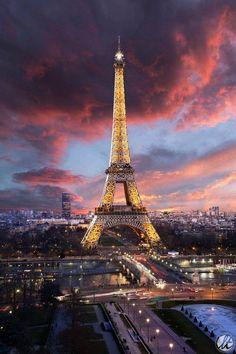 De Eiffel Toren in Parijs de hoofdstad van Frankrijk, De Stephen Sauvestre.