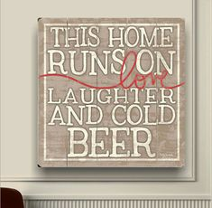 Love Laughter and Cold Beer - Man Cave Slatted Planked Wood Sign
